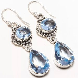 Jewelry - TANZANITE Quartz sterling silver EARRINGS blue